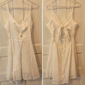 Shein white keyhole skater dress, tie back, EUC